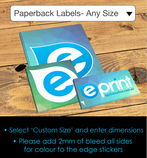 paperback Labels Any Size