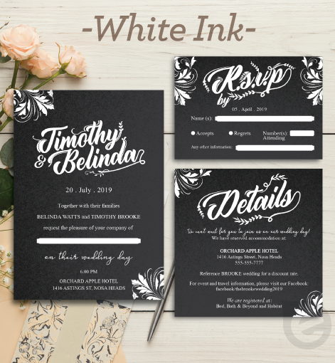 White Ink Invitations