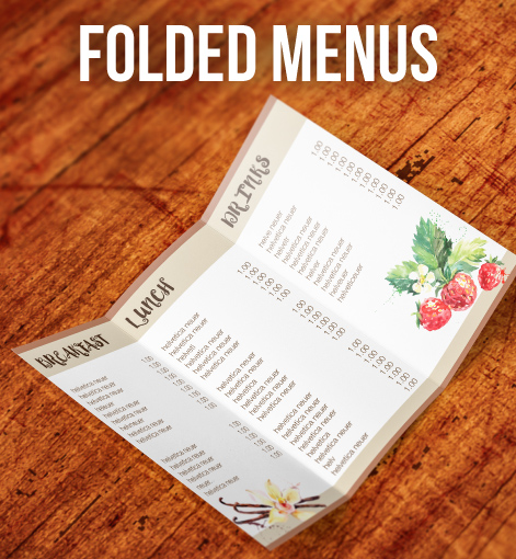 Sameday Menus Folded Display