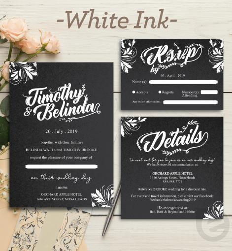 White Ink Invitation Printing Sample